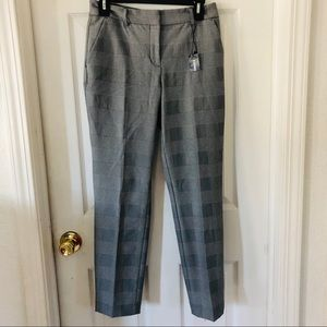 NWT Express plaid gingham ankle mid rise grey pant